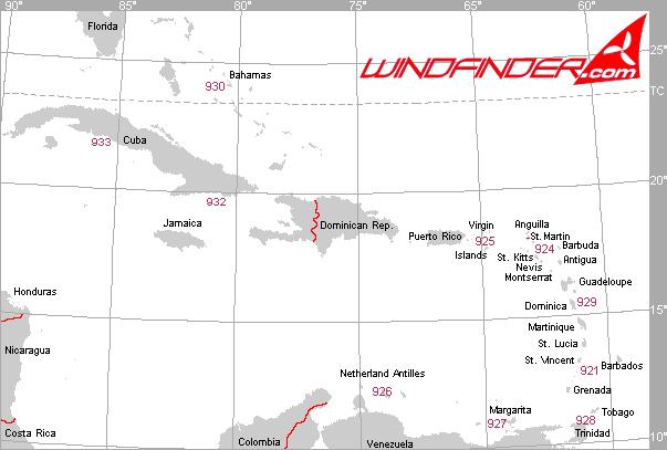 Segelwetterregionen Karibik