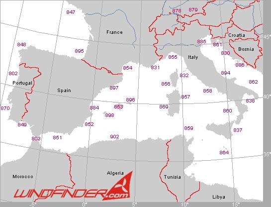 Segelwetterregionen Southwest-Europa